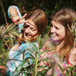 Happy young girls outdoor — Stock Photo
