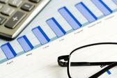 Financial graphs analysis — Stockfoto