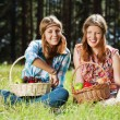 Happy young girls with a fruit basket — Stock Photo
