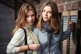 Young girls against a brick wall — Stock Photo