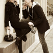 Foto Stock: Young couple flirting
