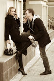 Young couple flirting — Stock Photo
