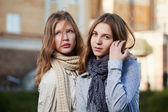 Young girls on a city street — Stock Photo