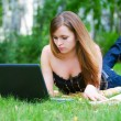 Young woman working on laptop. — Stock Photo
