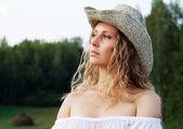 Beautiful young woman on nature. — Stock Photo