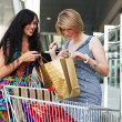 Two young women with shopping cart. — Stockfoto
