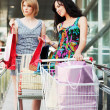 Two young women with shopping carts — ストック写真