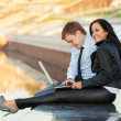 Young business couple using laptop — Foto de stock #27343801