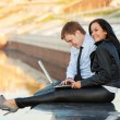 Foto Stock: Young business couple using laptop