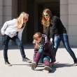 Teenage girls with skateboard — Stock Photo