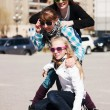 Stock Photo: Teenage girls on the city street