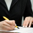 Business woman signing contract — Stock Photo #31634681