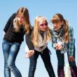 Group of teenage girls having a fun — Stock Photo