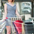 Young woman with shopping cart — Stock Photo #31635323