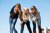 Group of teenage girls having a fun — Stock Photo