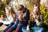 Teenage girls eating an ice cream — Stock Photo