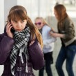 Teenage girl calling on the cell phone — Stockfoto