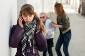 Teenage girl calling on the cell phone — Stock Photo