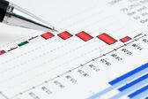 Análise financeira de tabelas e gráficos — Fotografia Stock