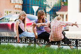 Teenage girls on the city street — Stock Photo