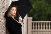 Happy woman with umbrella in the rain — Stock Photo