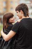 Happy young couple in love outdoor — Stock Photo