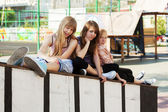 Group of teenage girls on the playground — Stock Photo