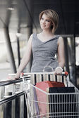 Young woman with shopping cart — Стоковое фото