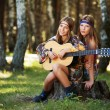 Two hippie girls with guitar in a summer forest — Stock Photo #49491655