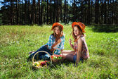 Happy young girls with a fruit basket on nature — 图库照片