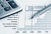 Финансовый учет фондового рынка графики и диаграммы — Стоковое фото