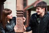 Happy young couple in love outdoor — Foto Stock