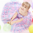 The girl with balloons — Stock Photo