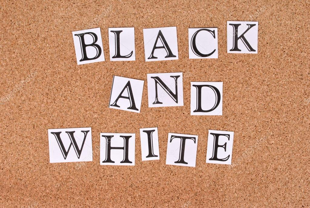 Black and White -text on cork-board — Stock Photo #12842921