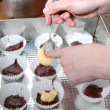 Preparing the cupcakes — Stock Photo