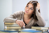 Student girl thinking — Stock Photo