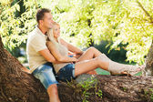 Embraced romantic couple in the nature — Stock Photo