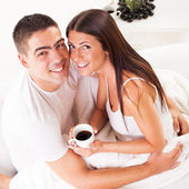 Young romantic couple in the morning — Stock Photo