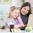 Mother and daughter having fun in the kitchen — Stock Photo #41432057