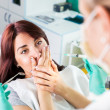 Scared girl at dentist — Stockfoto