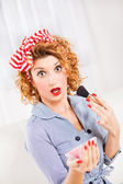 Retro woman — Stock Photo