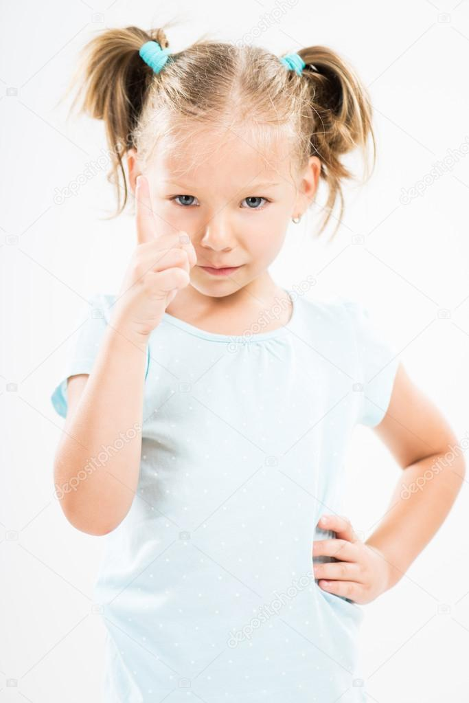 Angry little girl scolding — Stock Photo © MilanMarkovic ...