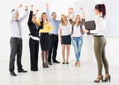 Successful Presentation in front of coworkers — Stock Photo