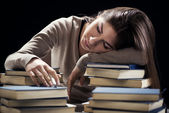 Tired student girl — Stock Photo