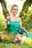 Beautiful woman planting flowers — Stock Photo