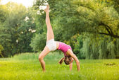 Exercising yoga — Stock Photo
