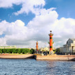 St. Petersburg.View on the Winter Palacel,Rostral columns. — Stock Photo