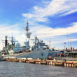 Flagship military ship in gulf. - Stock Photo