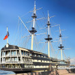 Old frigate in moorage St.Petersburg, Russia. - Stock Photo