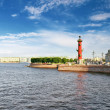 Stock Photo: Rostral Column in Saint Petersburg in Russia. Evening.
